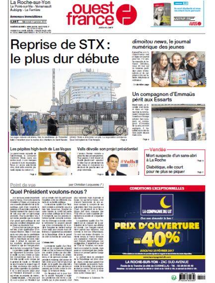 Ouest France - Editions La Roche sur Yon + Les Sables + Challans