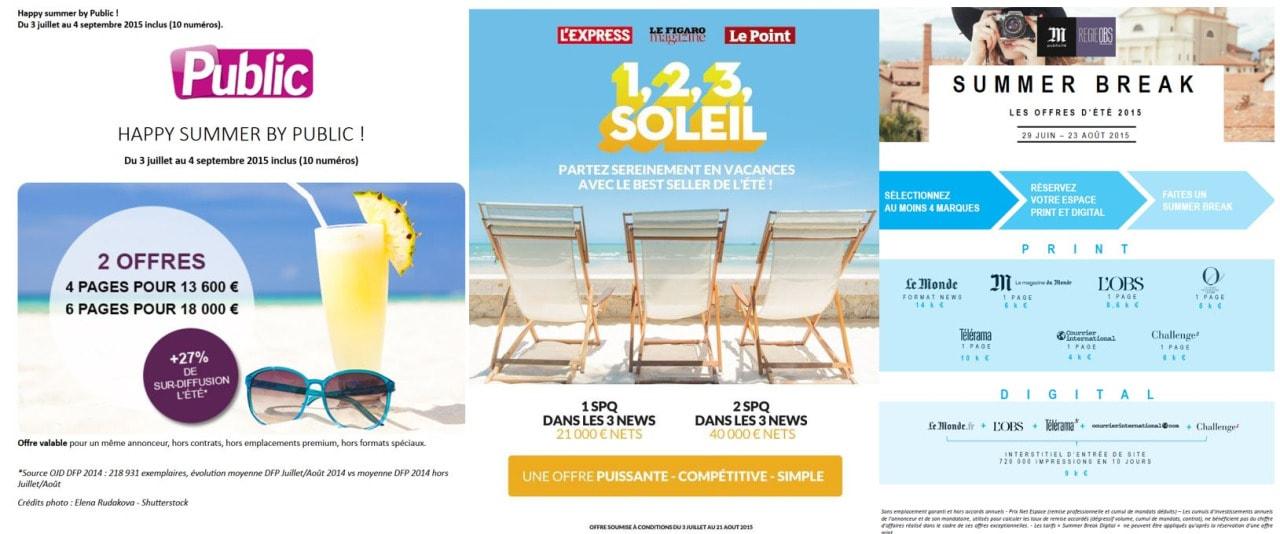 publicité presse l'été